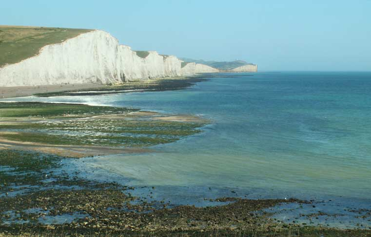 Seven Sisters viewed from Seaford Head on a hazy day (Photograph by Andy Horton)