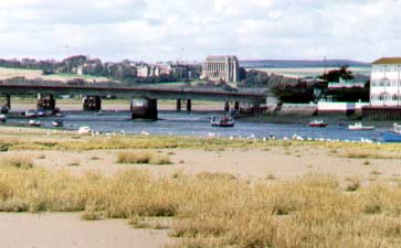 Saltings: view from the southern end of the footbridge at low tide (Photograph by Andy Horton)