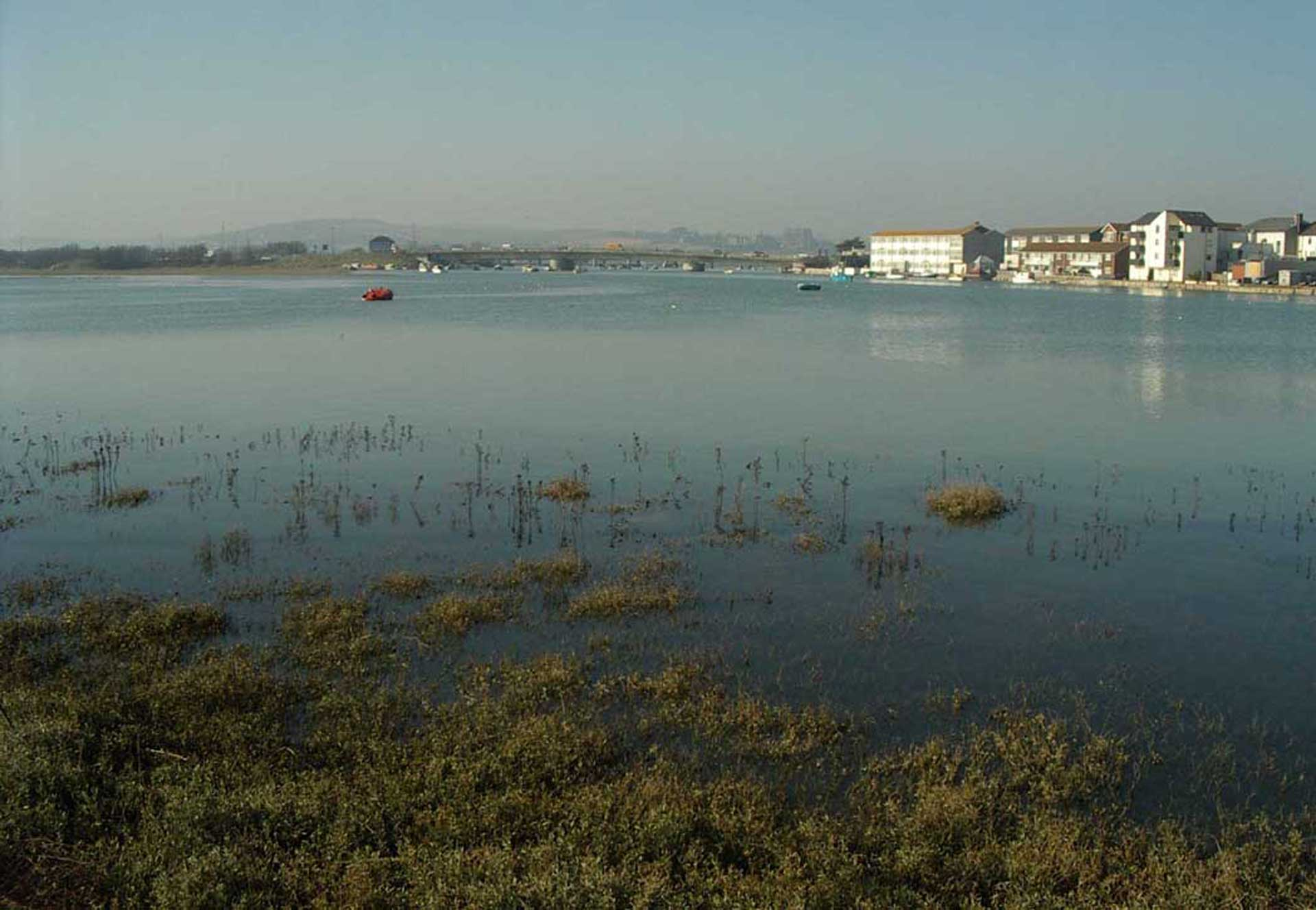 River Adur in Shoreham town centre, the view from Shoreham beach at the SW end of the footbridge (Photograph by Andy Horton)