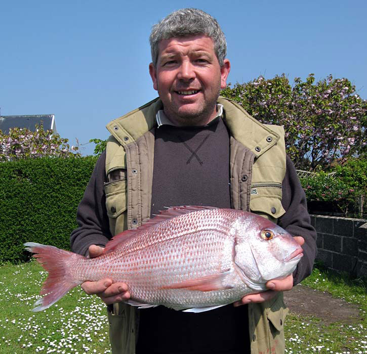 Ray Fallaize with the record Couch's Bream (Photograph © by Richard Lord, Guernsey)