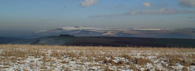 From Steepdown to Truleigh Hill with a light layer of snow (Photograph by Ray Hamblett)