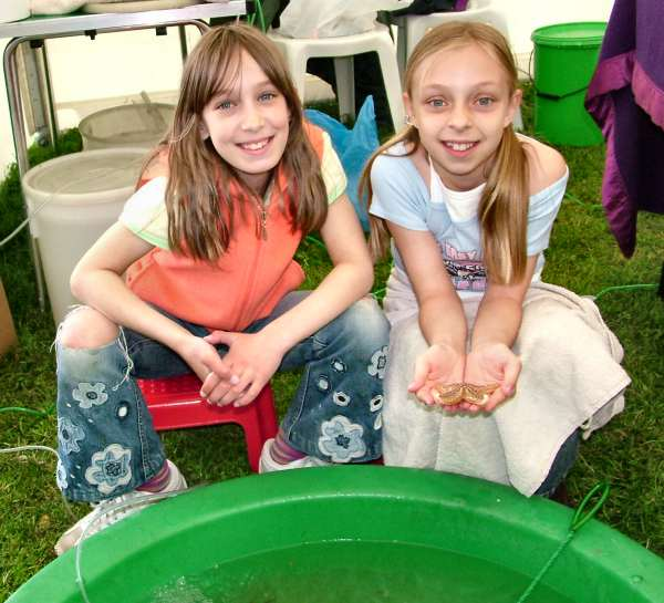 Katherine and Hanna presented a simulated rock pool (Photograph by Ray Hamblett)
