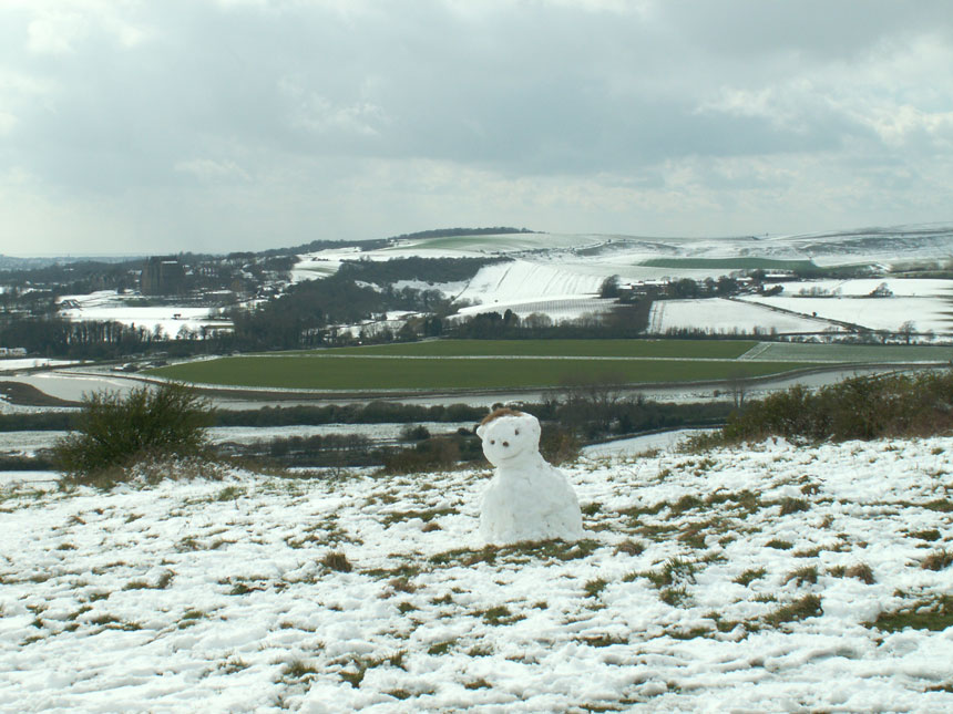 Snow on Mill Hill looking over the Adur Valley towards Lancing Clump in the distance